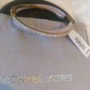 Michael Kors Gold-tone Blush Acetate Pave Bangle